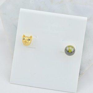 Kate Spade Asymmetric Kitty Stud Earrings